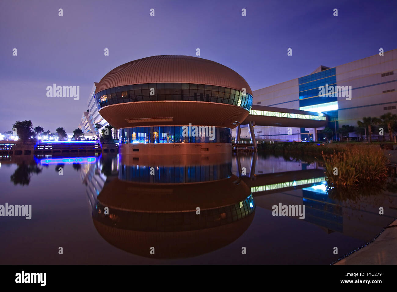 Closeup of Government Complex Building dome shines at Dusk in Bangkok Thailand. - Stock Image