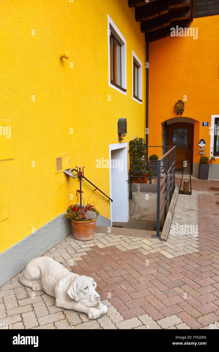 Dog sculpture in hotel - village Werfen near Salzburg Austria - Stock Image