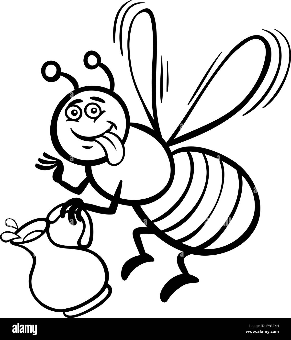 honey bee cartoon for coloring book - Stock Image