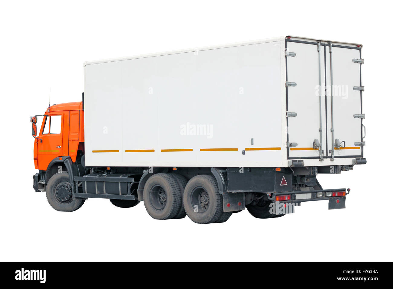 truck with a container on a white background. - Stock Image