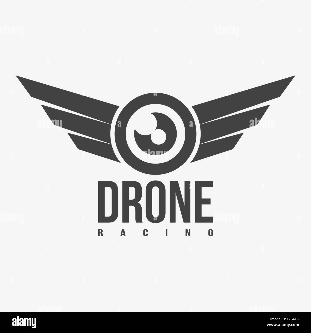 Black and white drone racing logo. Stock Vector