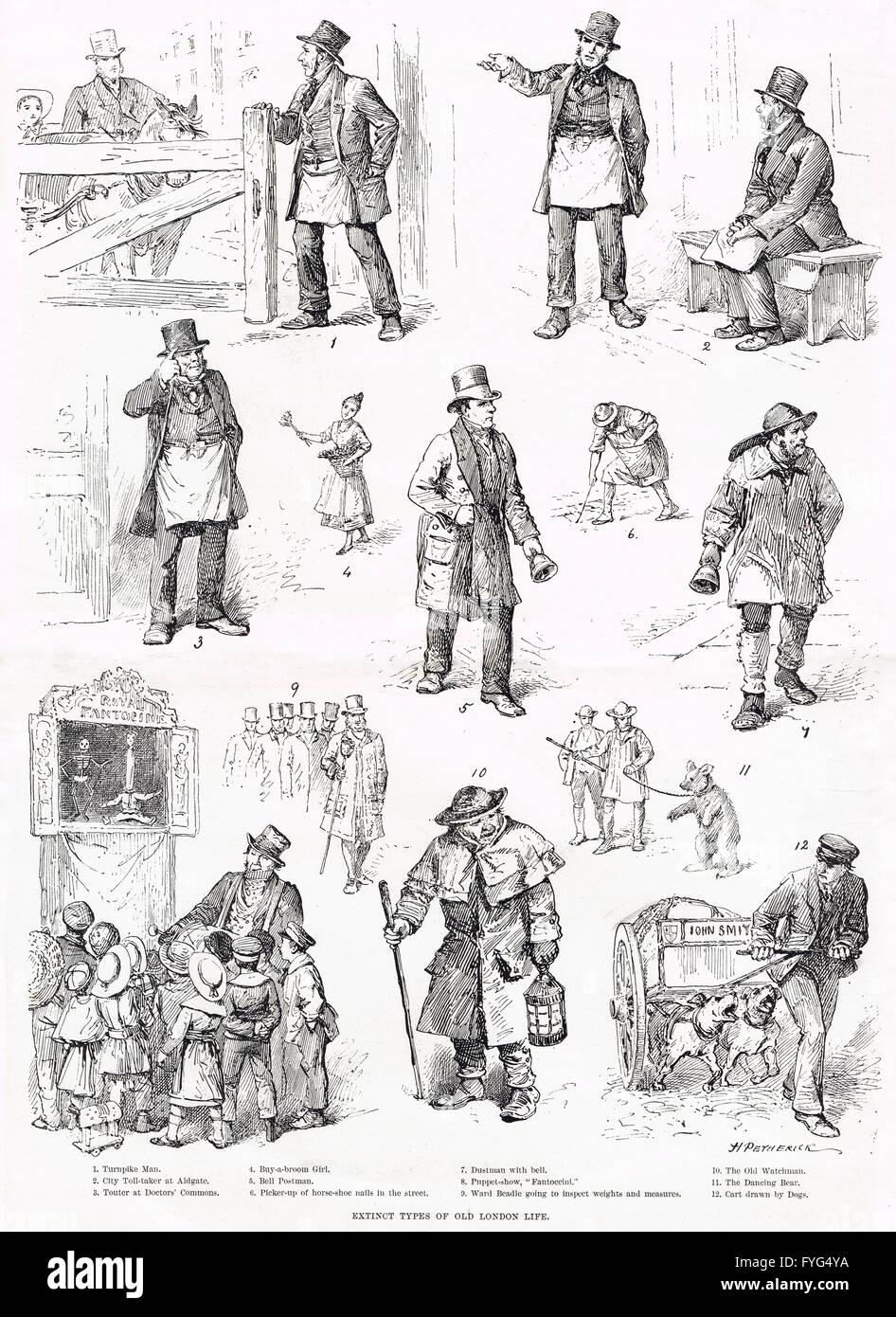 Extinct types of Old London Life 1890 - Stock Image