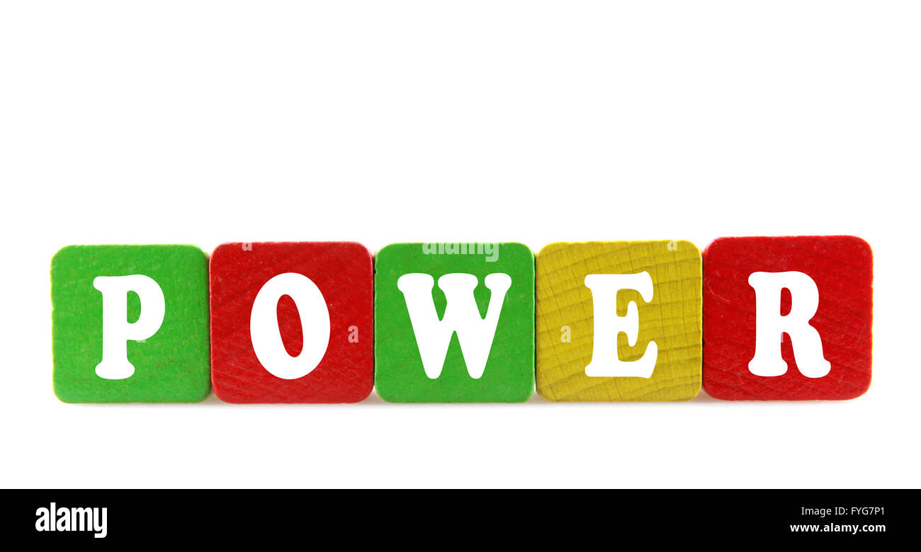 power - isolated text in wooden building blocks - Stock Image