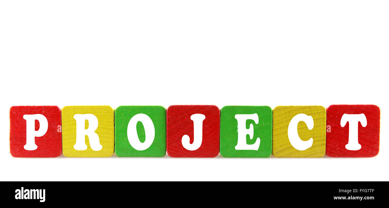 project - isolated text in wooden building blocks - Stock Image