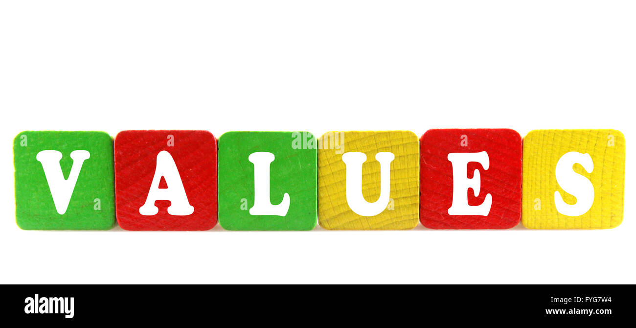 values - isolated text in wooden building blocks - Stock Image