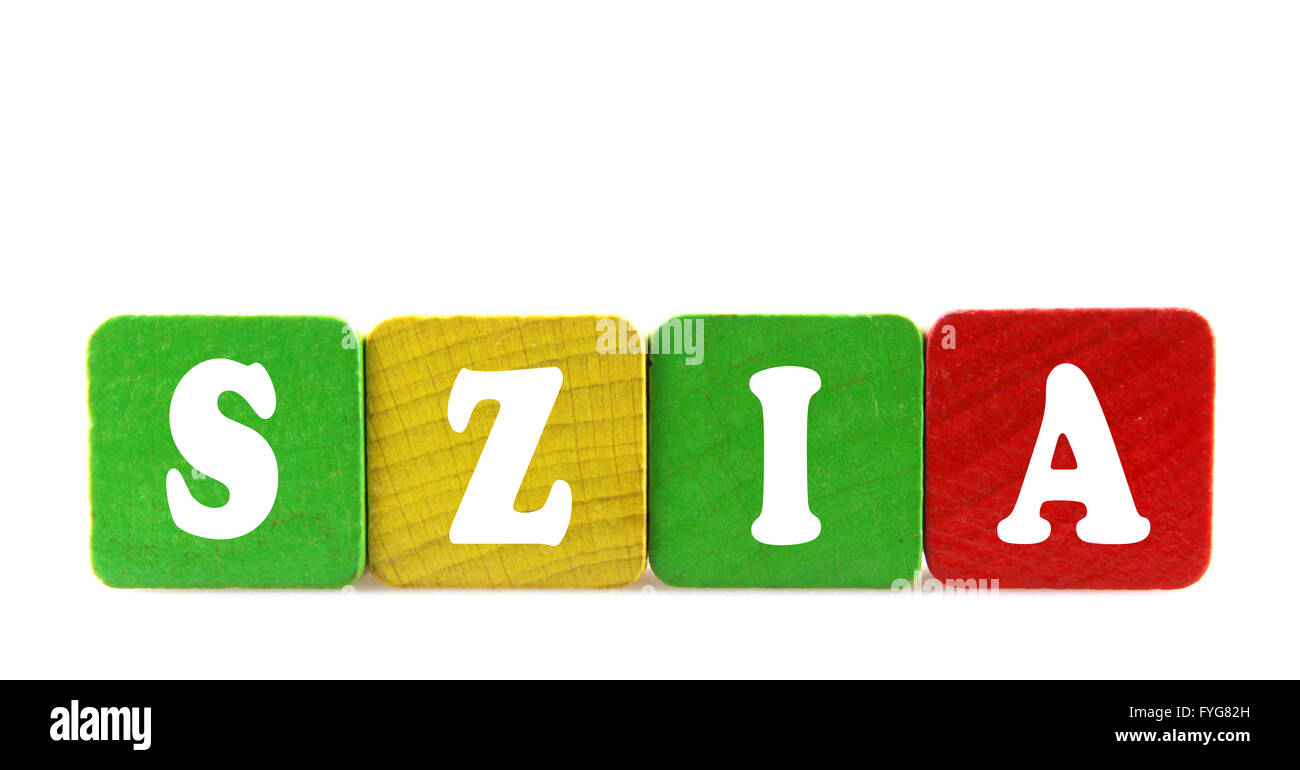 szia - isolated text in wooden building blocks - Stock Image