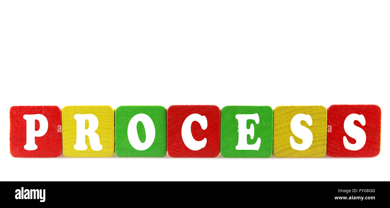 process - isolated text in wooden building blocks - Stock Image