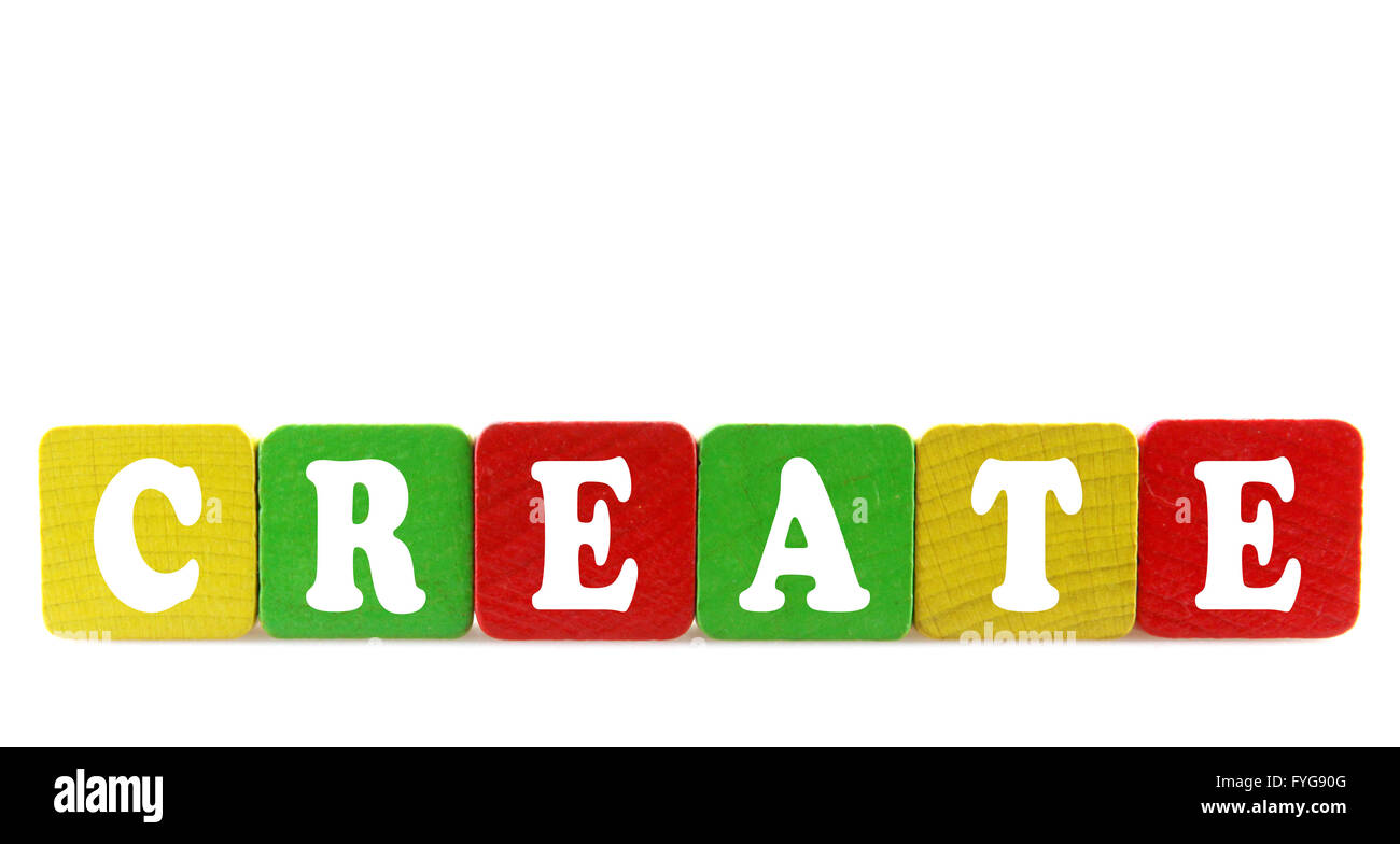 create - isolated text in wooden building blocks - Stock Image