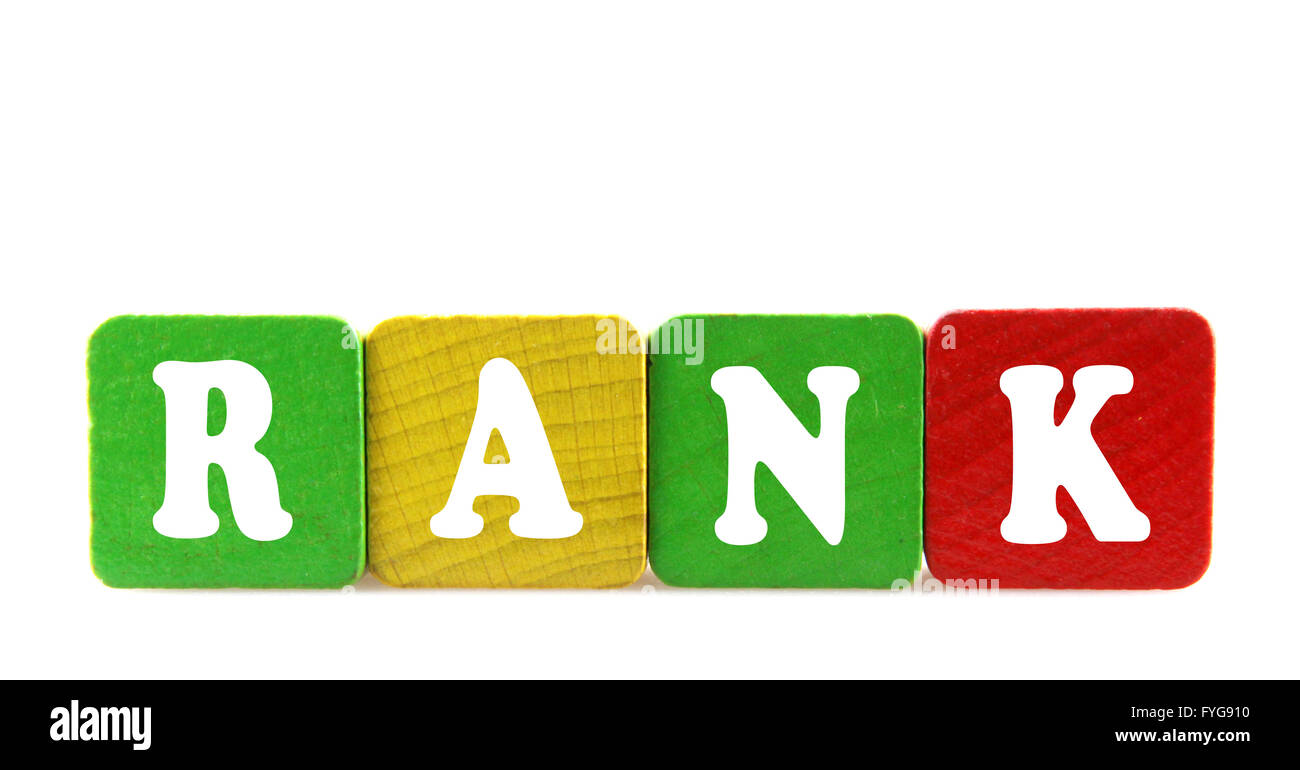 rank - isolated text in wooden building blocks - Stock Image