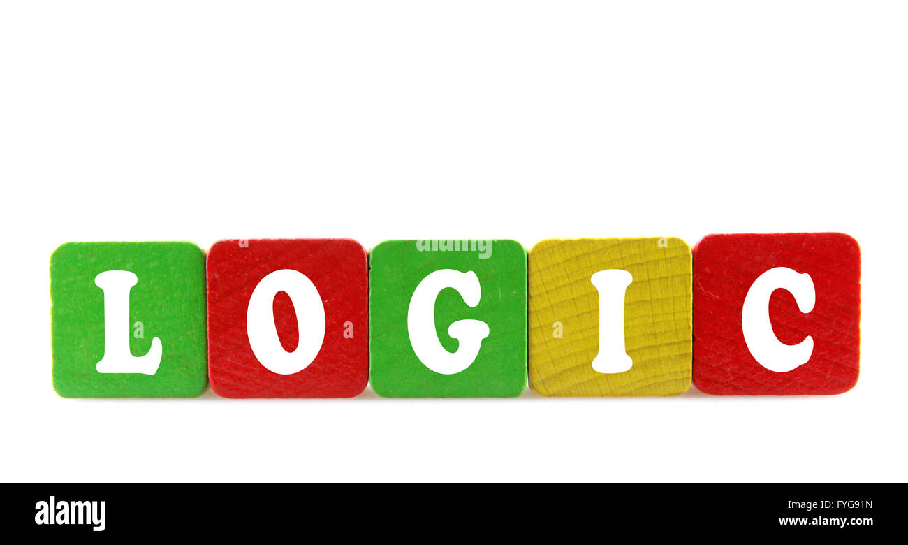 logic - isolated text in wooden building blocks - Stock Image