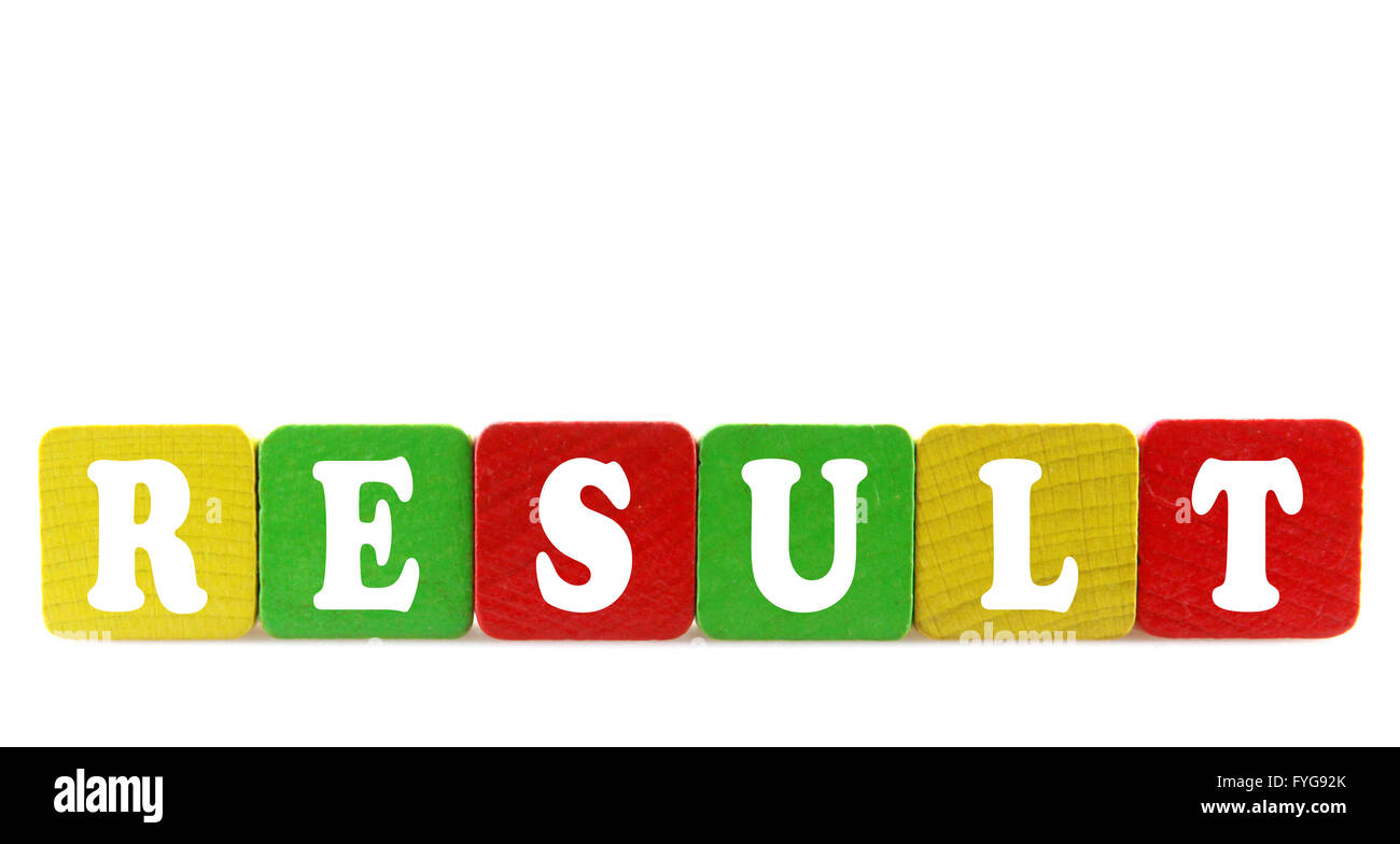 result - isolated text in wooden building blocks - Stock Image