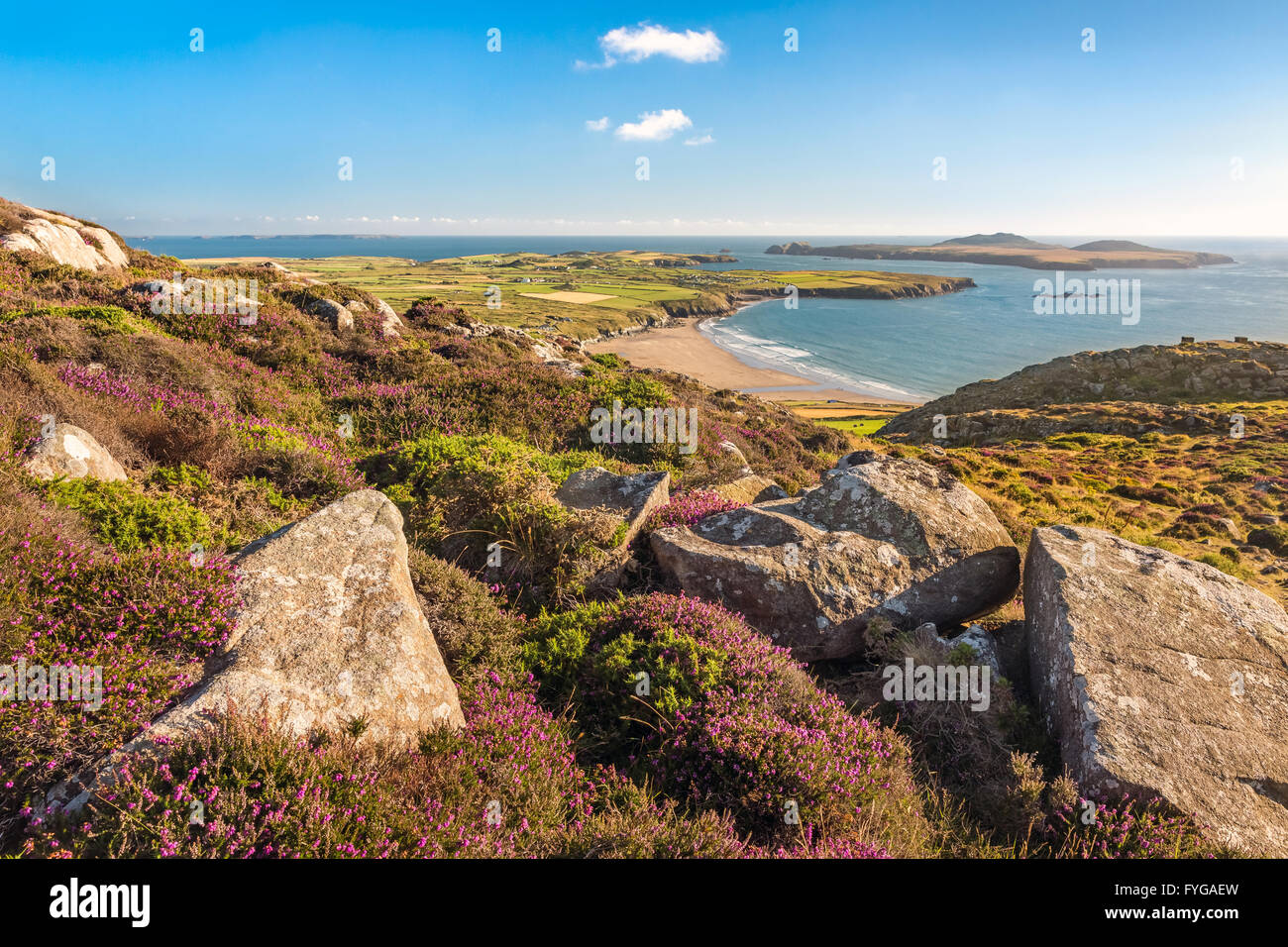 Coastal view down to Whitesands Bay and Ramsey Island taken from Carn Llidi summit on the north Pembrokeshire coastline - Stock Image