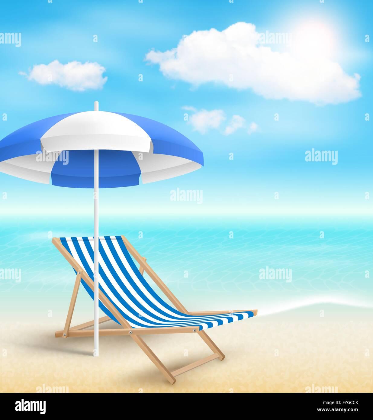 beach with sun beach umbrella beach chair and clouds summer vac