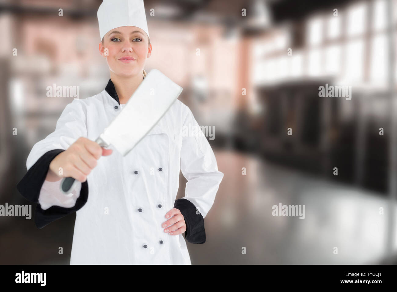 Composite image of portrait of female chef with meat cleaver - Stock Image