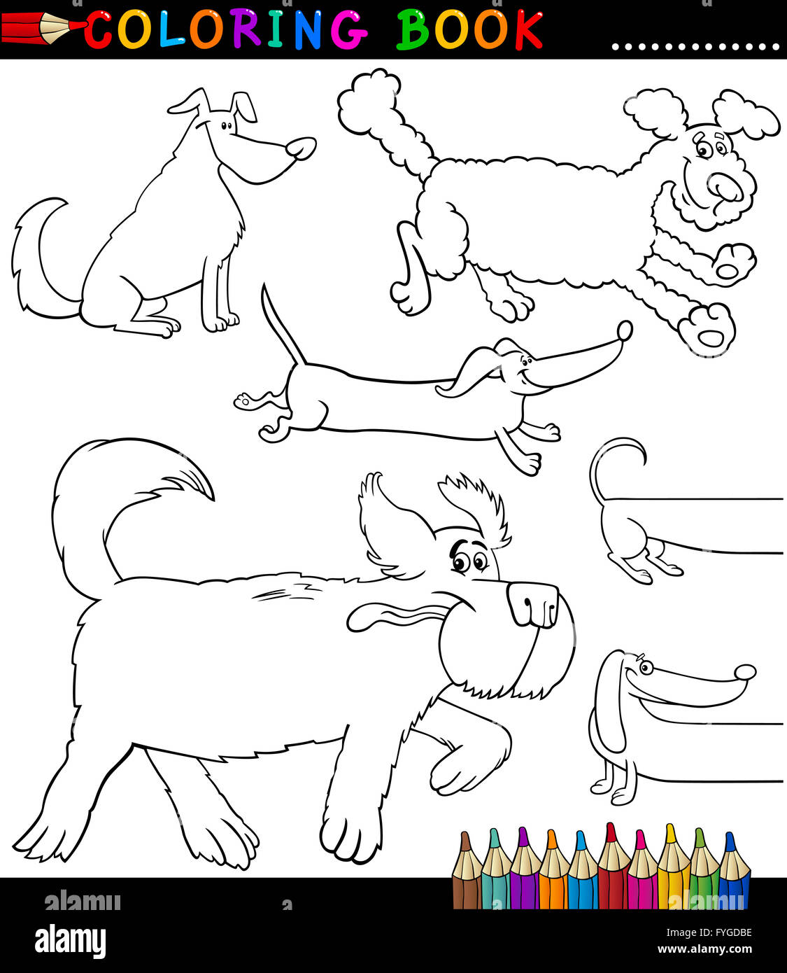 Cartoon Dogs Or Puppies Coloring Page Stock