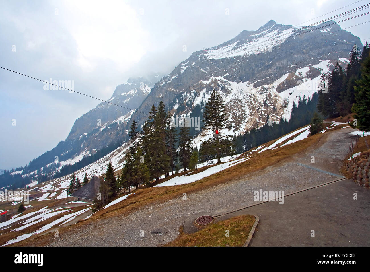 landscape of Pilatus mountain with cloudy weather in Lucern Switzerland - Stock Image