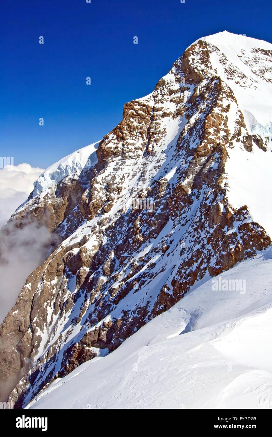 Part of The Swiss Alpine Alps at Jungfraujoch in Interlaken Switzerland - Stock Image