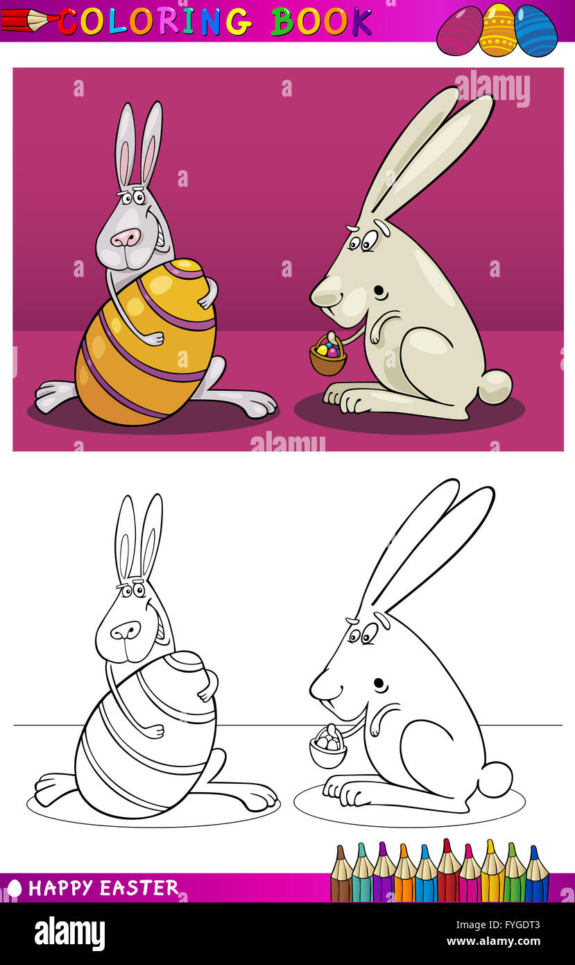 Easter Cartoon Coloring Stock Photos & Easter Cartoon Coloring Stock ...