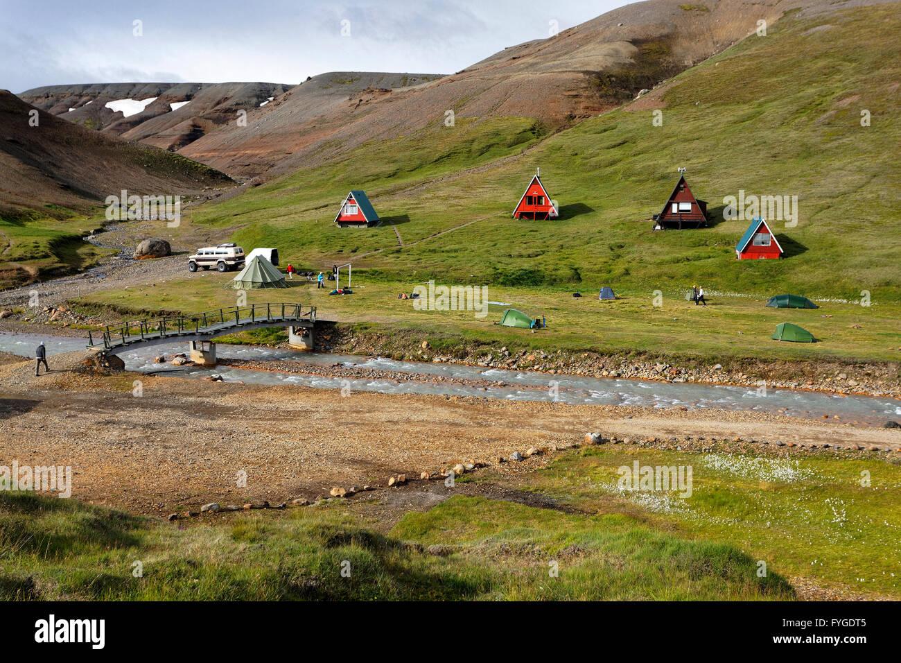 Kjolur campsite, Highlands Iceland - Stock Image