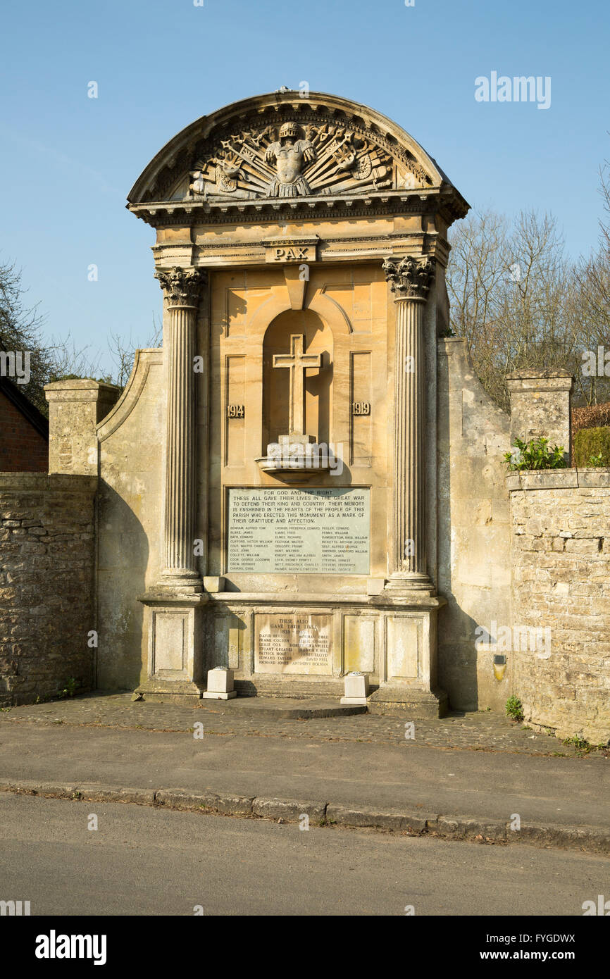 War memorial in the village of Lacock, Wiltshire, England, UK Stock Photo