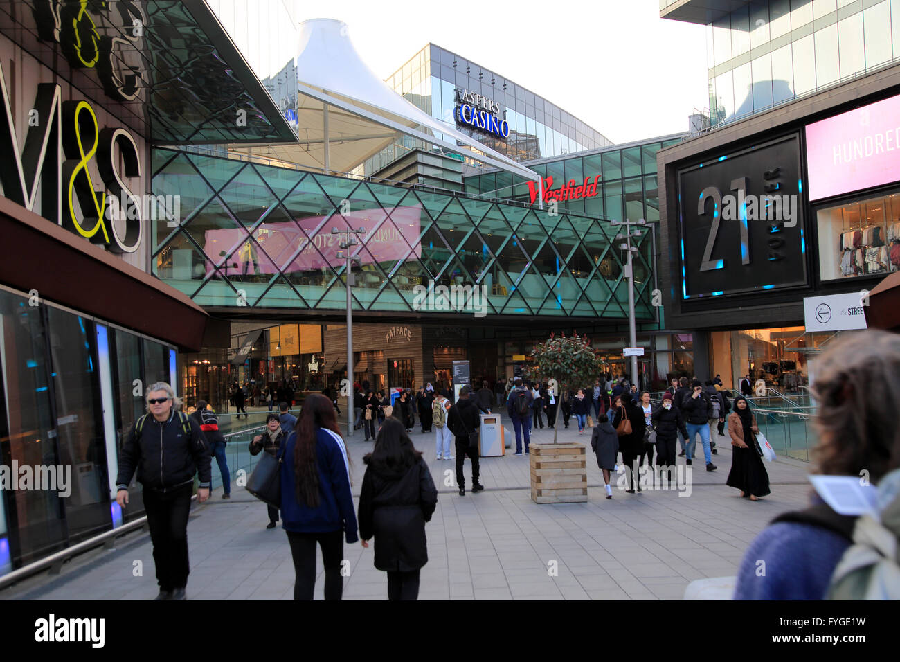 People shopping at Westfield shopping centre, Stratford, London, England, UK - Stock Image