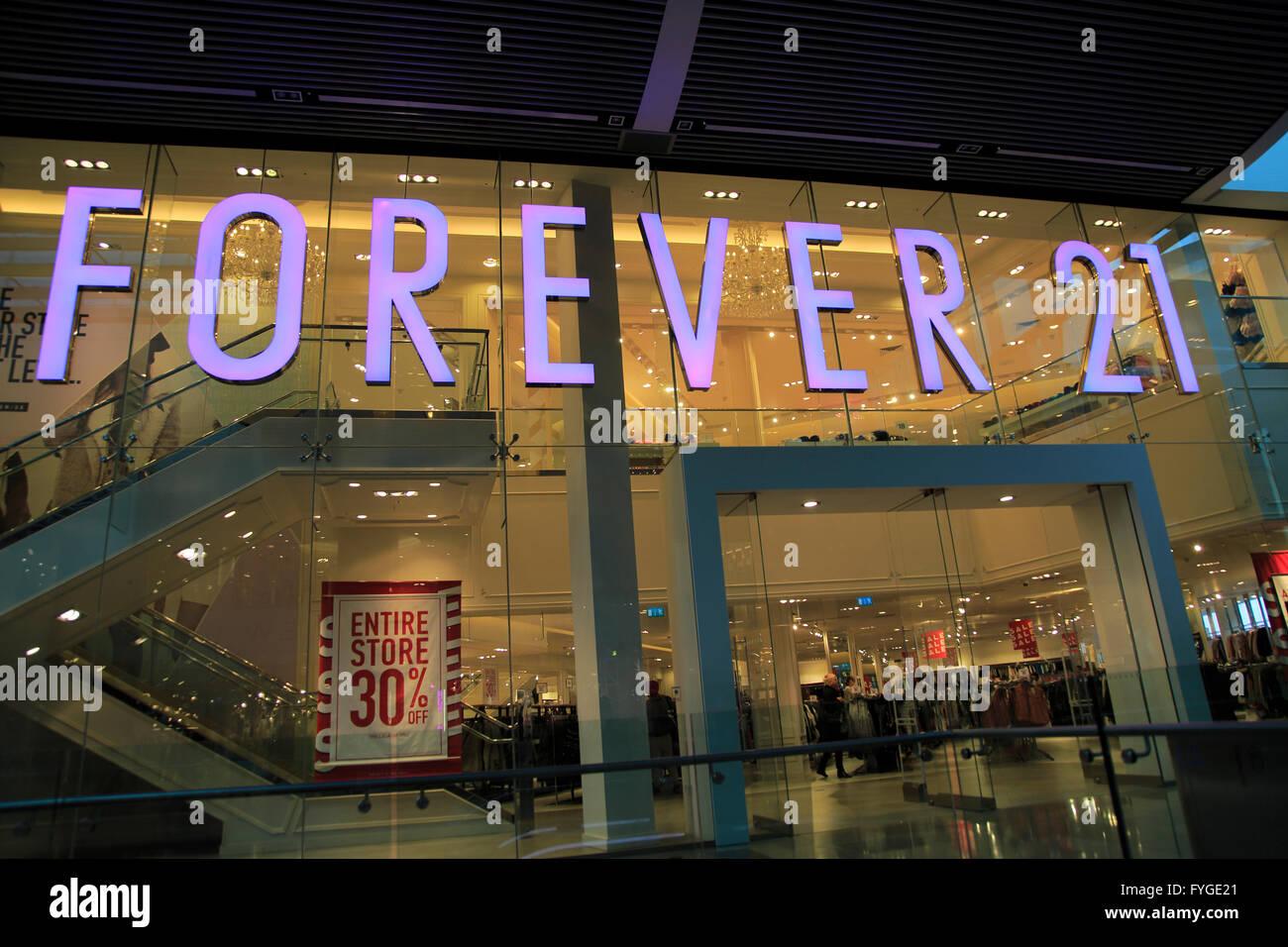 Forever 21 shop inside Westfield shopping centre, Stratford, London, England, UK - Stock Image