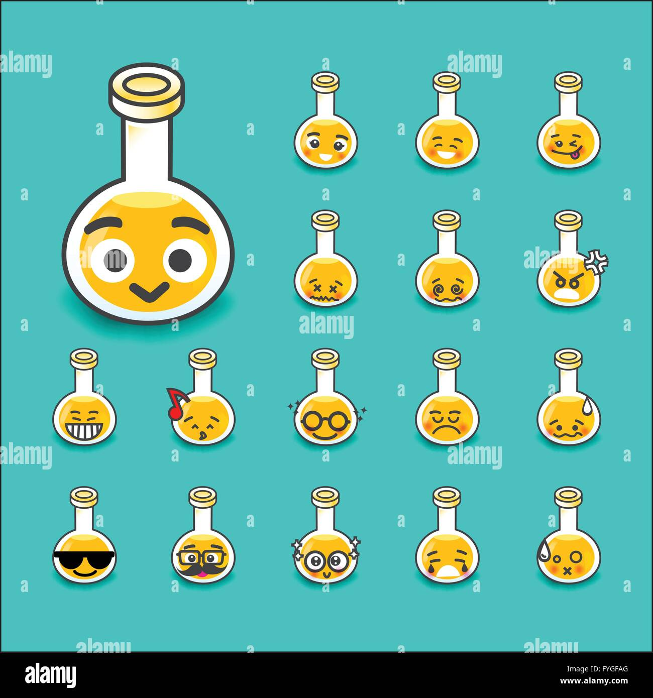 Collection of difference emoticon bottle test tube chemical lab cartoon vector illustration - Stock Image