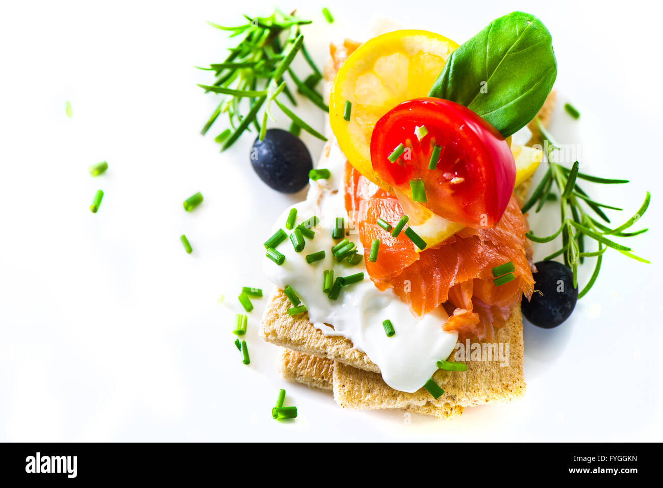 Canapes with smoked salmon - Stock Image