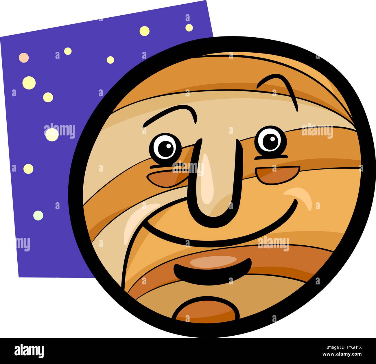 funny jupiter planet cartoon illustration - Stock Image
