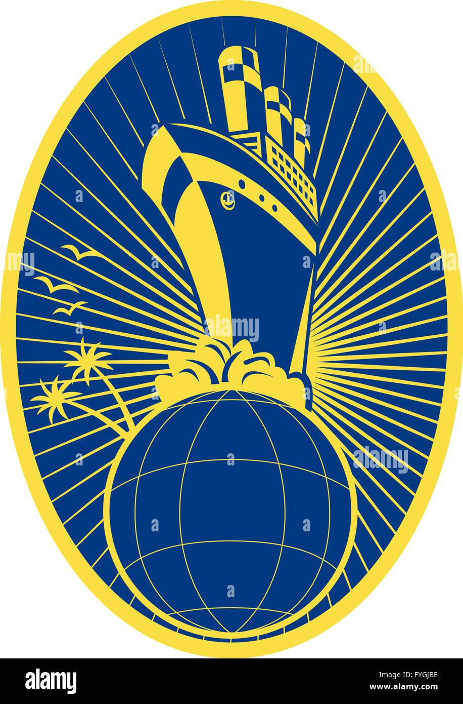 Passenger ship boat Ocean liner globe - Stock Image