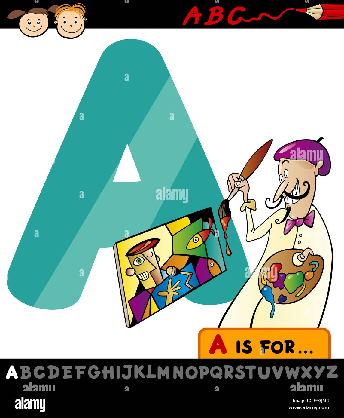 letter a with artist cartoon illustration Stock Photo