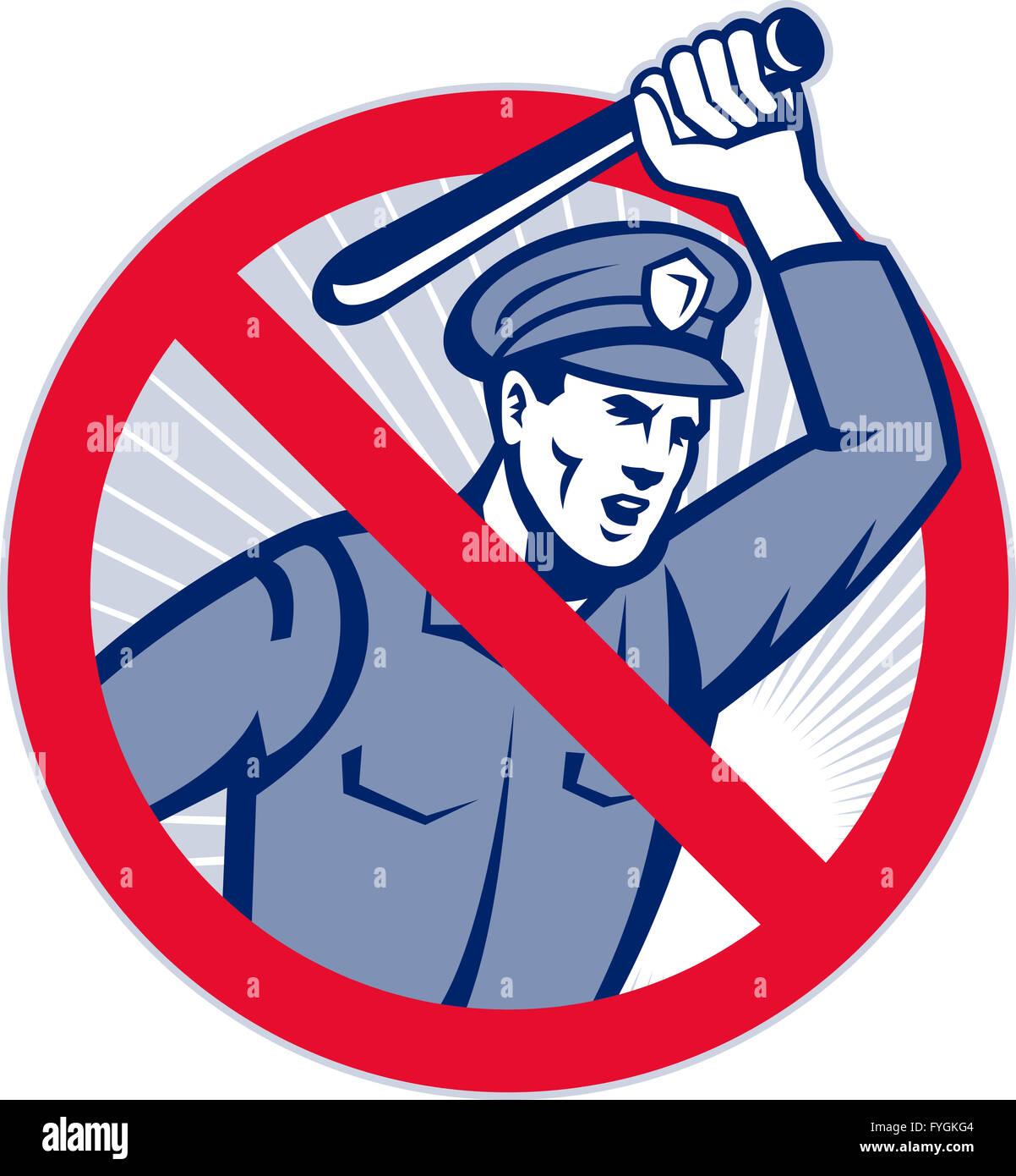 Police Brutality Policeman With Baton - Stock Image