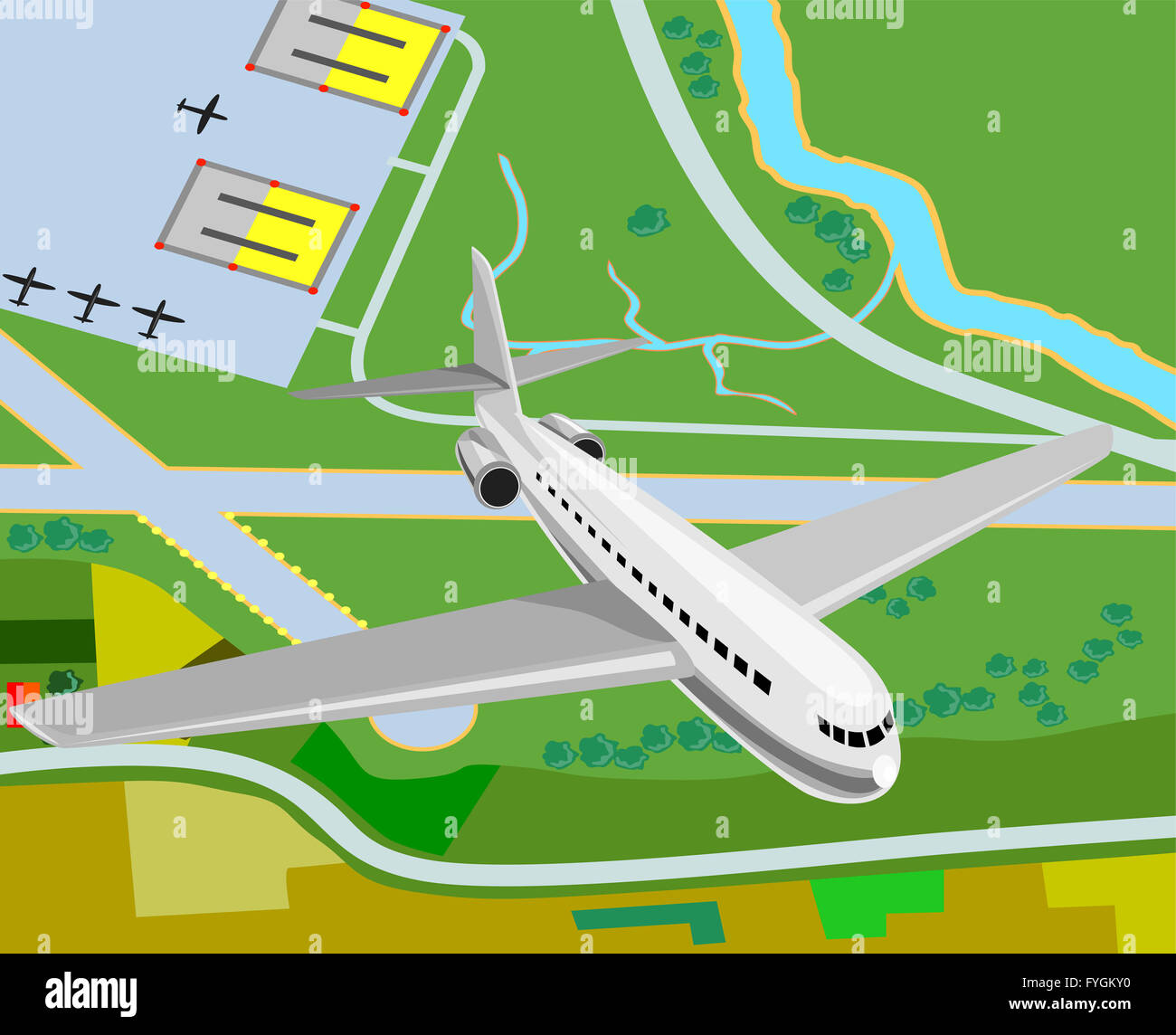commercial jet plane airliner - Stock Image