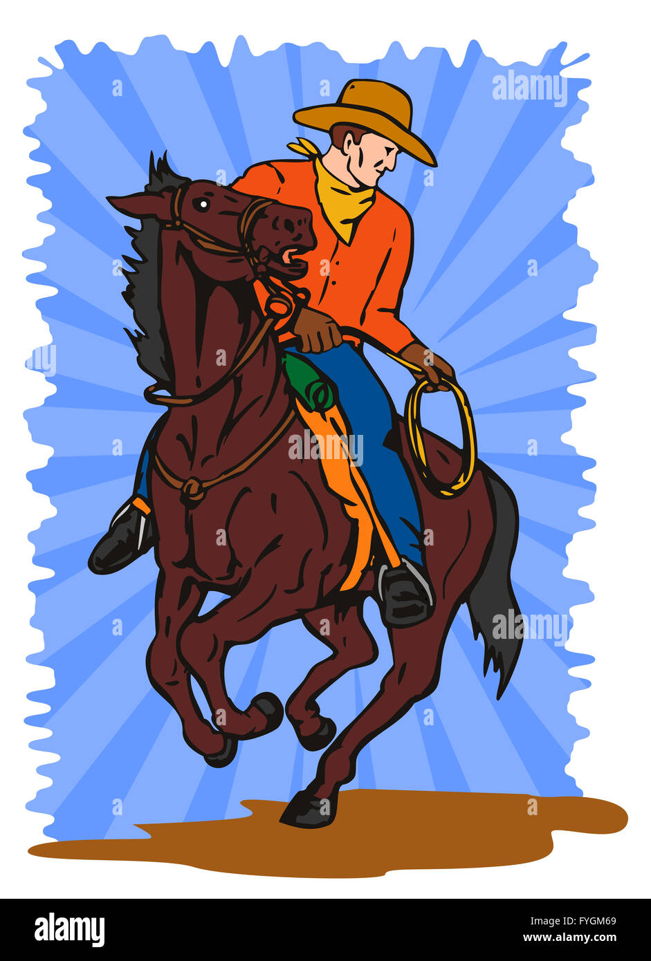 Cowboy on Horse with Lasso - Stock Image