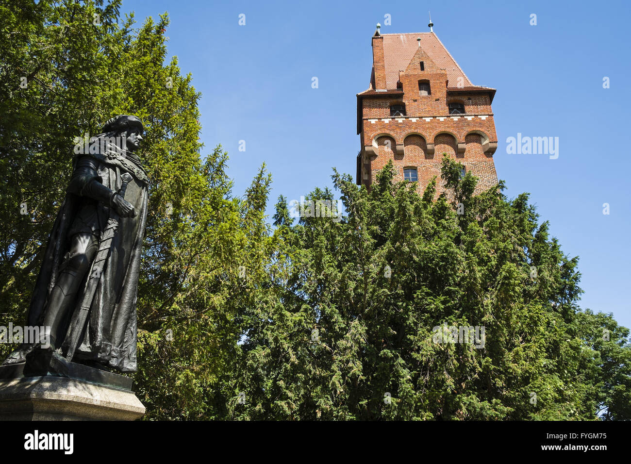 Statue Kurfuerst Friedrich I. - Tangermuende Castl Stock Photo