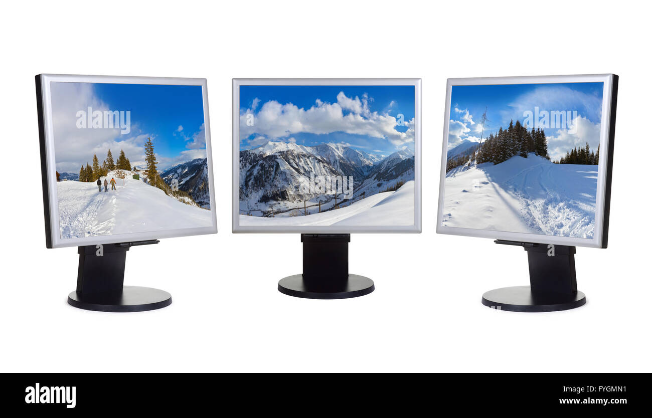 Mountains ski resort Kaprun Austria panorama in computer screens - Stock Image