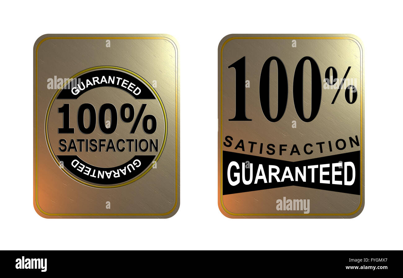 100% Satisfaction Guaranteed Gold Square Seal - Stock Image
