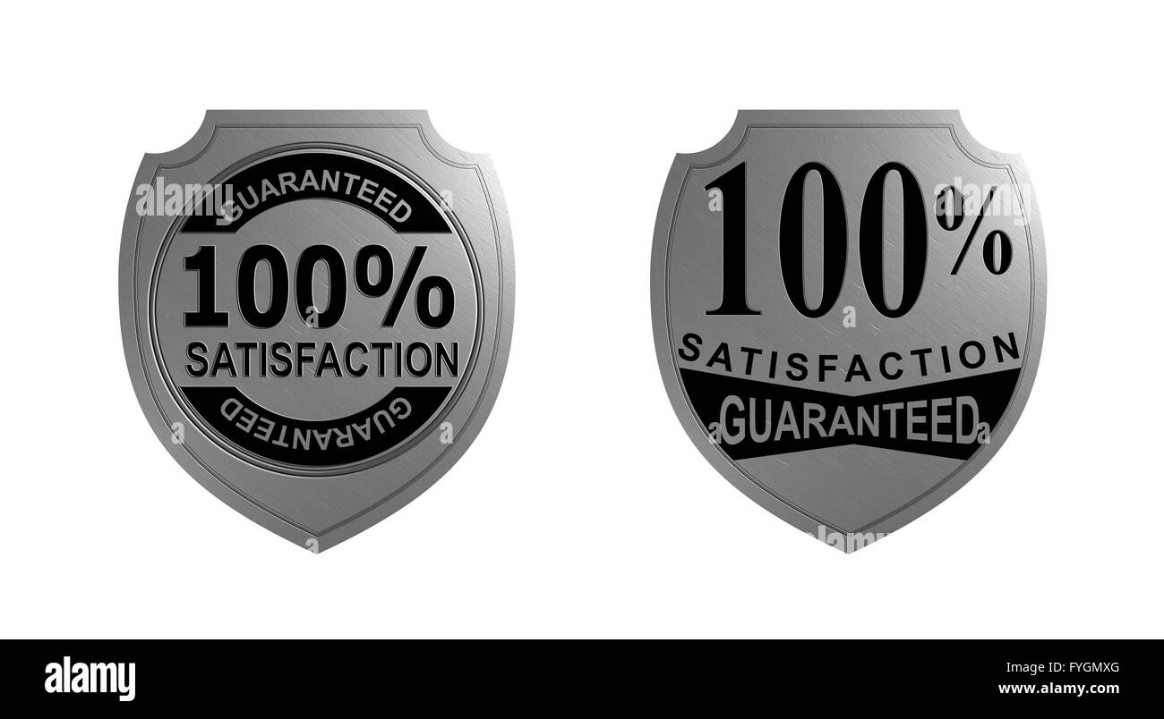 100% Satisfaction Guaranteed Silver Seal - Stock Image