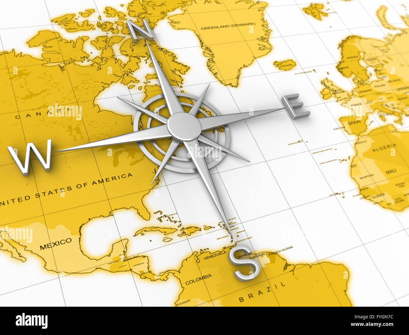 Compass World Map Travel Expedition Geography Stock Photo