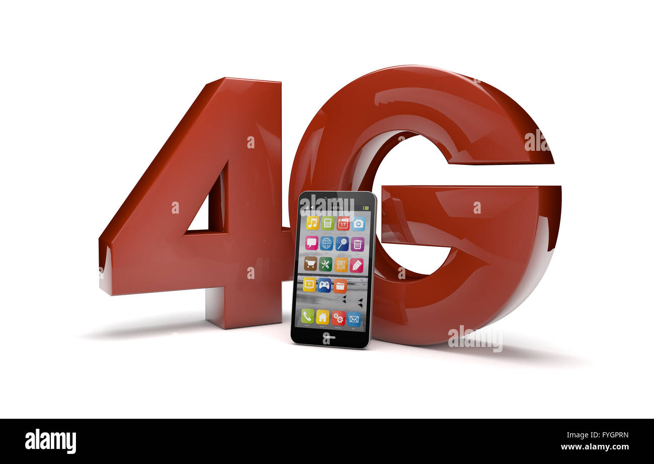 render of the text 4g and a smartphone - Stock Image