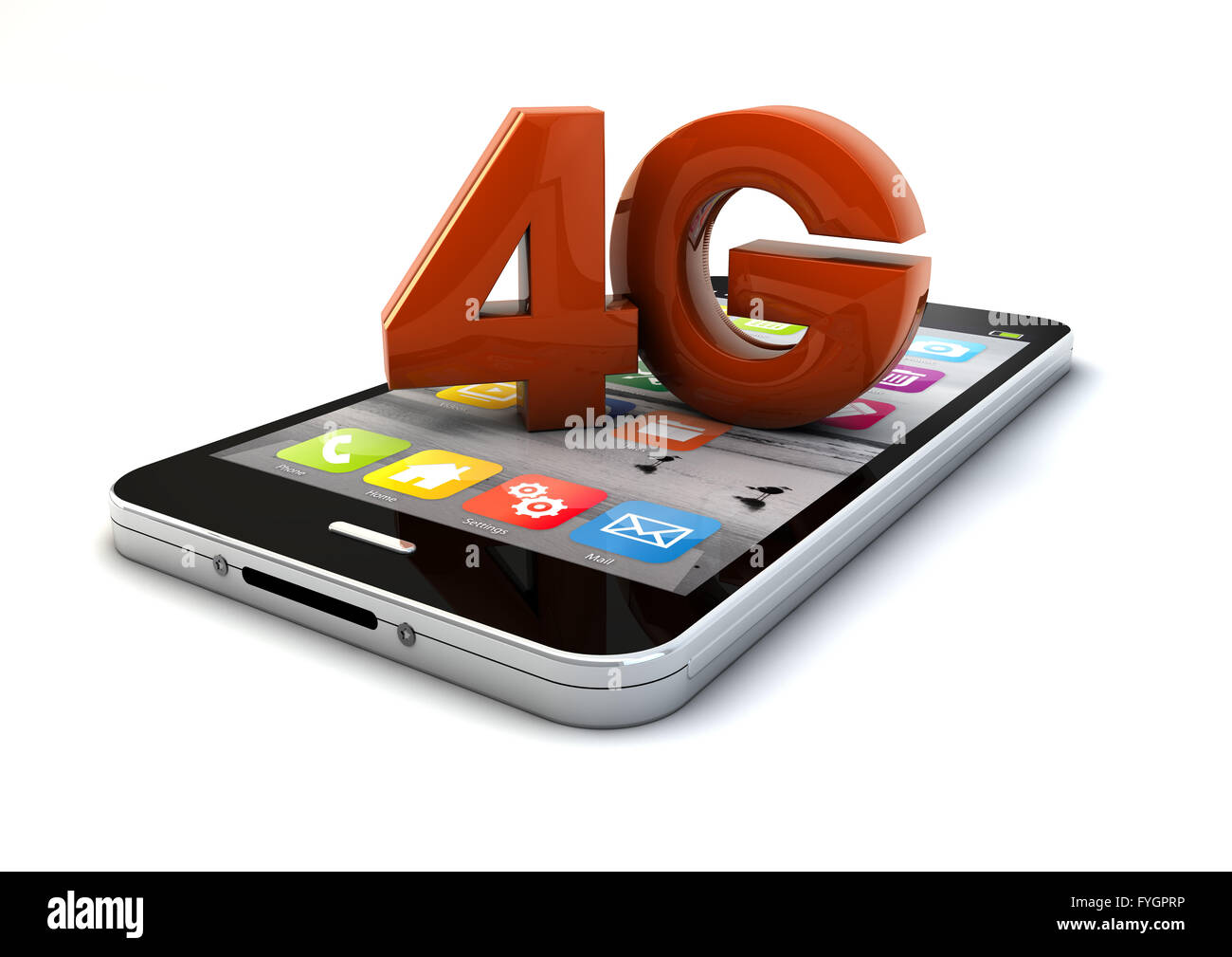render of a 4g smartphone - Stock Image