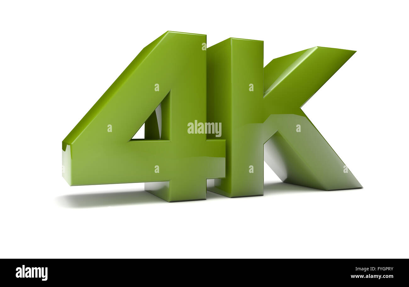 render of the text 4k - Stock Image