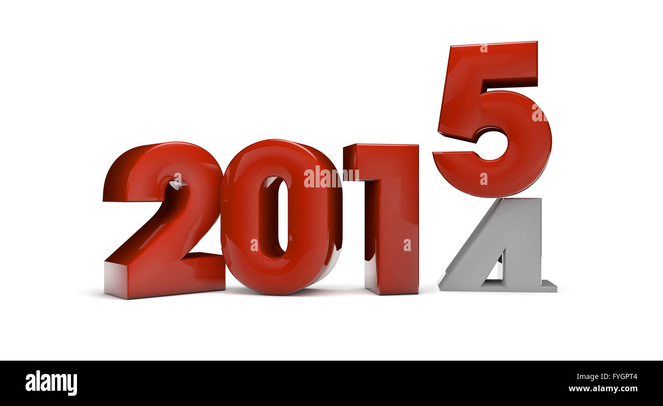 year change concept: 2015 text falling over 2014 isolated on white background - Stock Image