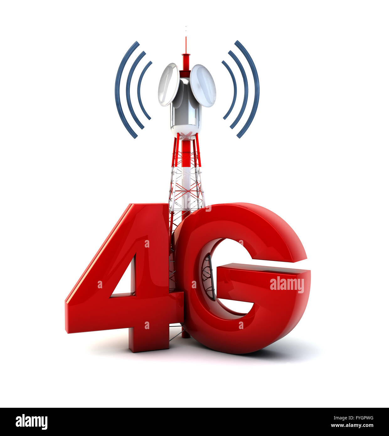 render of a communications tower and the text 4g - Stock Image