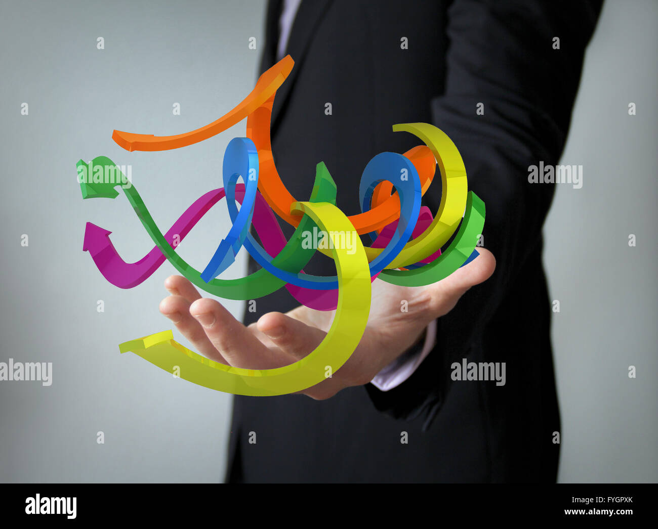 looking forward concept: arrows over businessman hand - Stock Image
