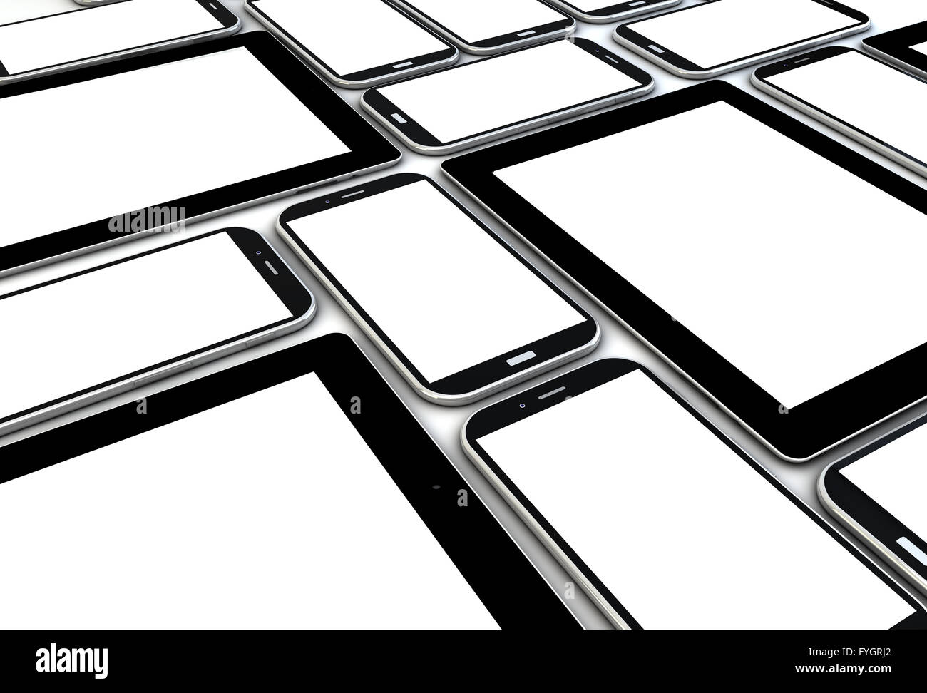 devices collection with blank screens - Stock Image