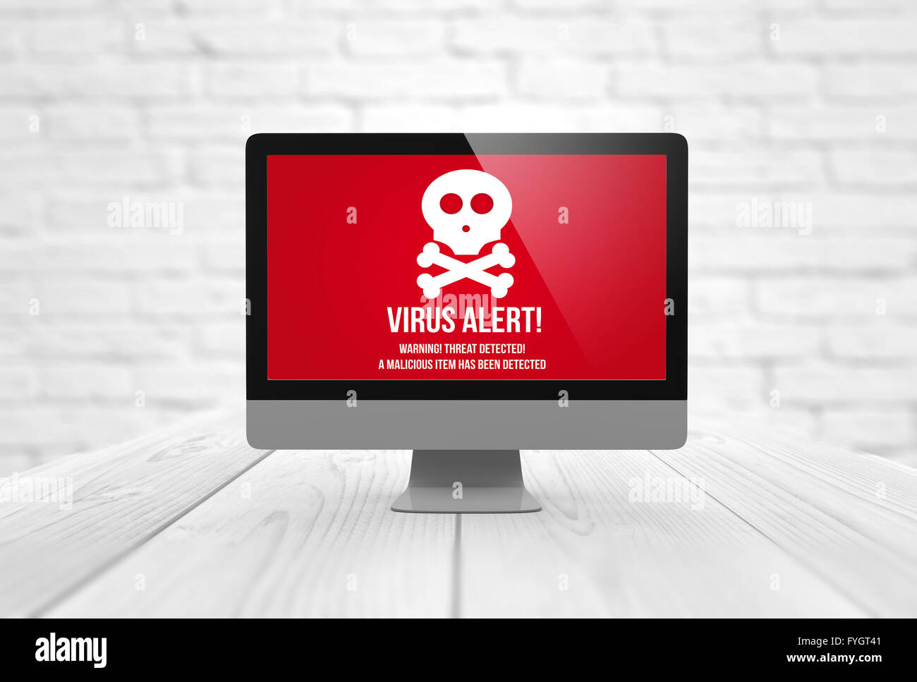 risks concept: computer digital generated with virus alert on the screen. All screen graphics are made up. - Stock Image