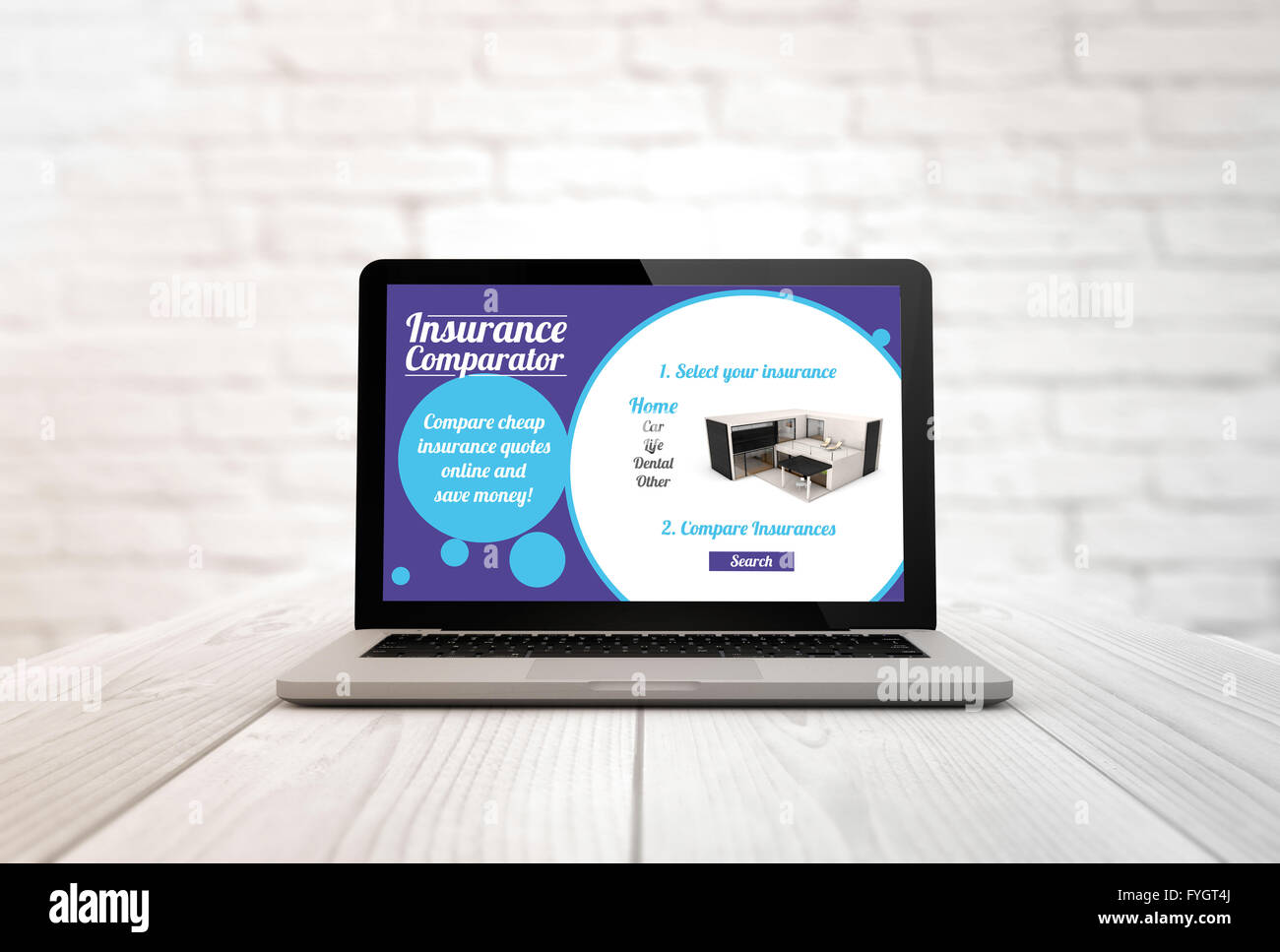 insurance hiring concept: digitally generated laptop on a wooden table with online insurance comparator. Screen - Stock Image