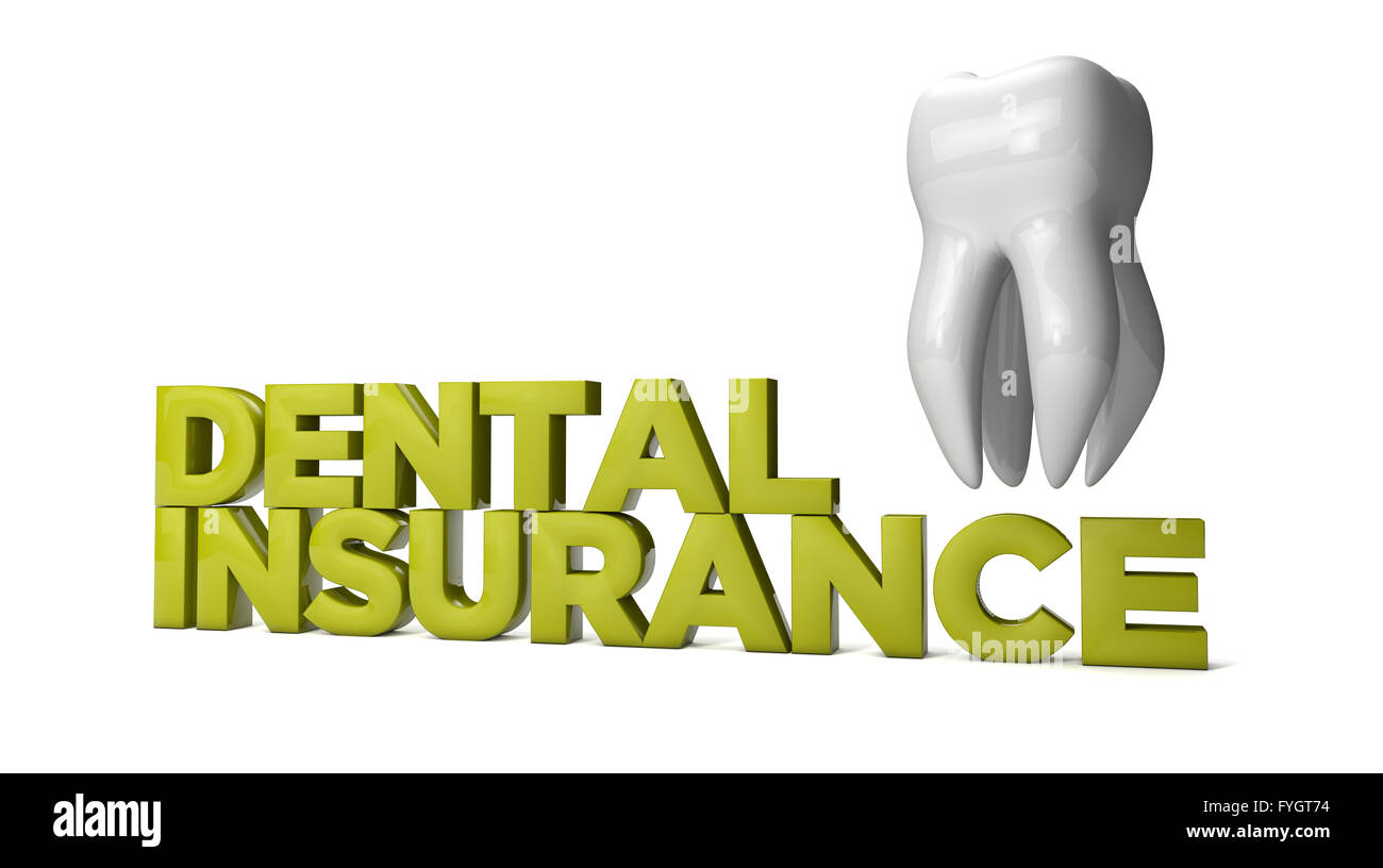 dental insurance text with molar tooth isolated on white background - Stock Image