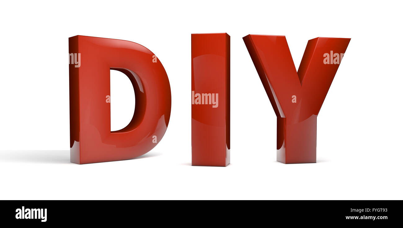 do it yourself abbreviation (DIY) text isolated on white - Stock Image